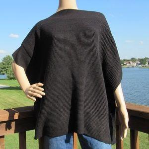 LOFT Black Knit Bateau/Boat Neck Pullover Poncho